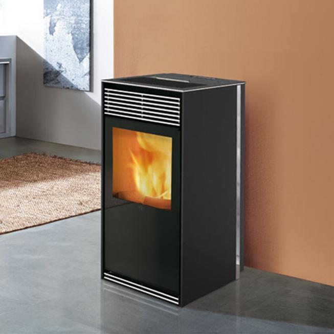 Estufa de pellets kikka 8kw aire negro puerta bonita biomasa - Estufas de aire de pellets ...